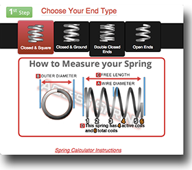 coil compression spring calculator instructions step 1