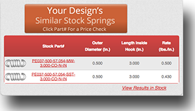 tension extension spring calculator section of similar stock springs